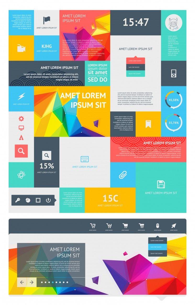 15 Premium Flat UI Design Templates - Boost Your Production | Flat ...
