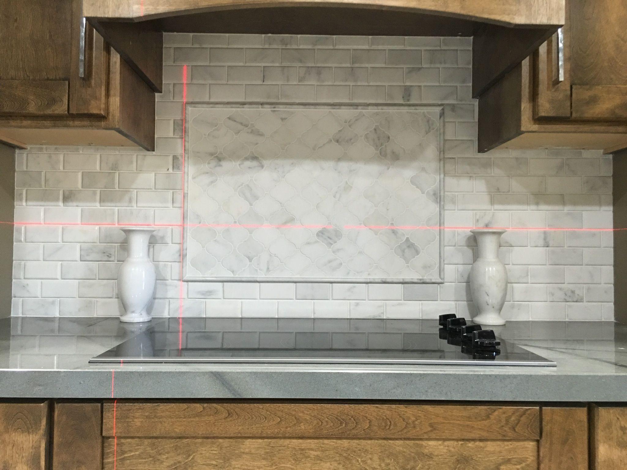 "White Marble Kitchen Backsplash. 3"" Arabesque Lantern inset above ..."