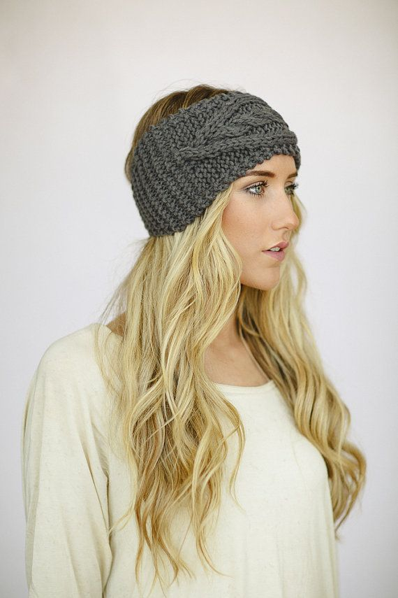 Gray Cable Knitted Headband Ear Warmer Grey Turband Style EXCLUSIVE ...
