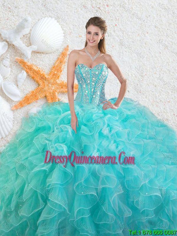 14507ef4348 Elegant Beading Sweetheart 2016 Quinceanera Dresses in Aqua Blue ...