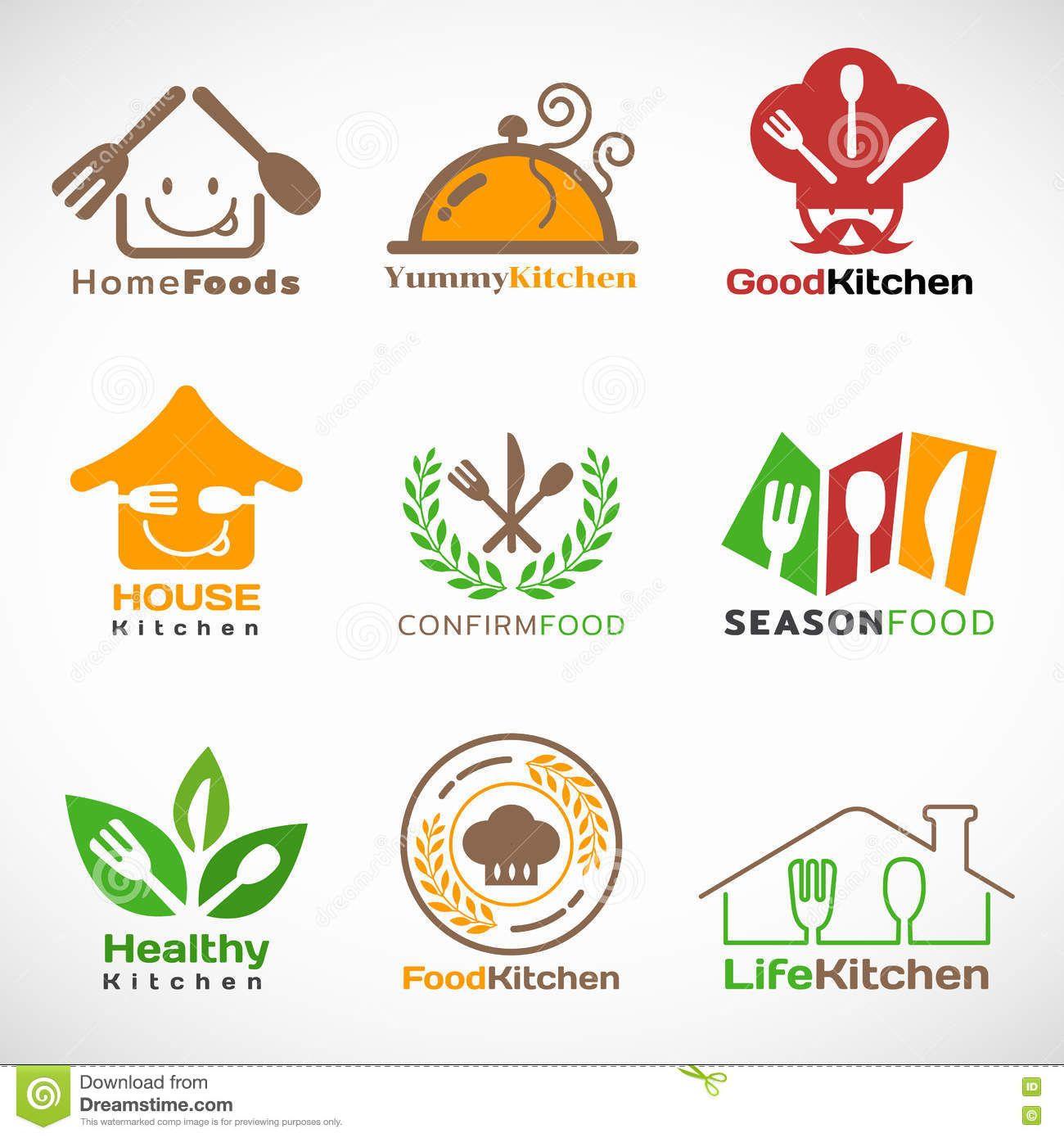 restaurant and home kitchen logo vector set design stock fruit contest logos - Kitchen Logo