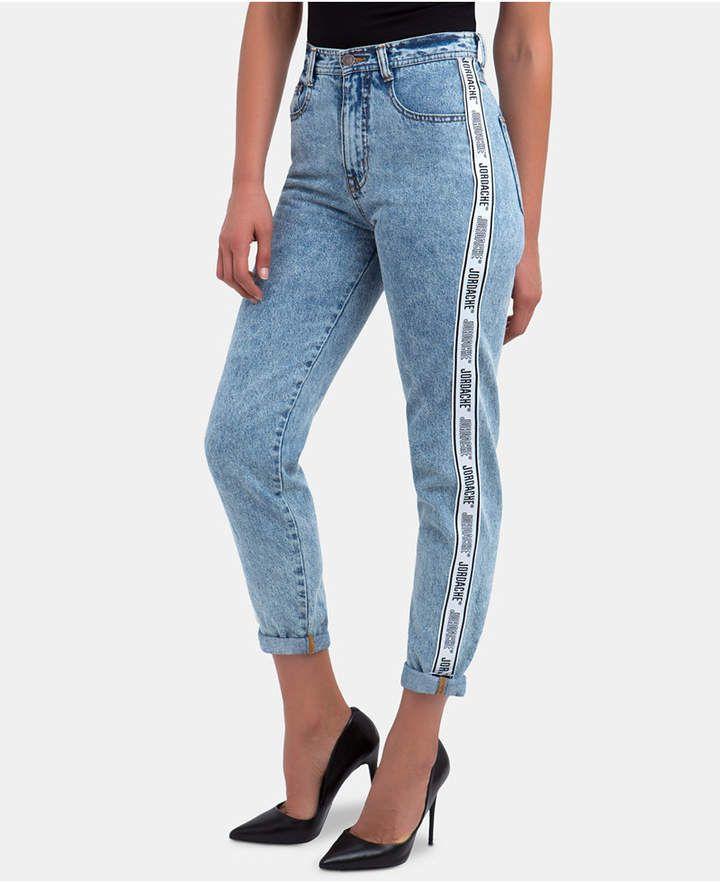df31f6ffe94 Cotton High-Waisted Logo-Stripe Jeans in 2019 | women | Striped ...