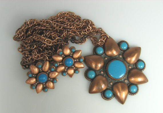 Vintage Bell Solid Copper Turquoise Necklace by TheFashionDen, $75.00