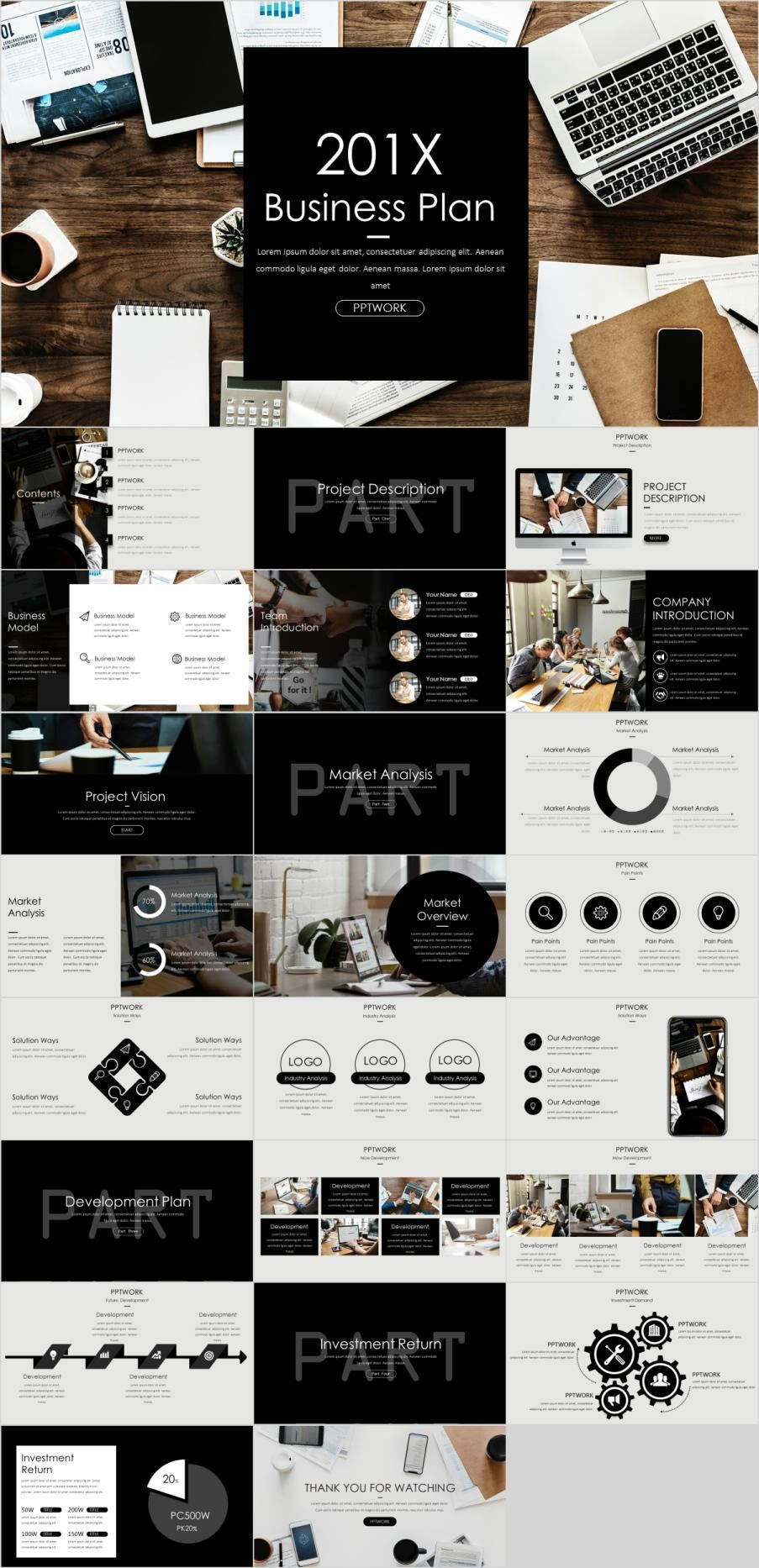 24+ simple business plan PowerPoint template Powerpoint