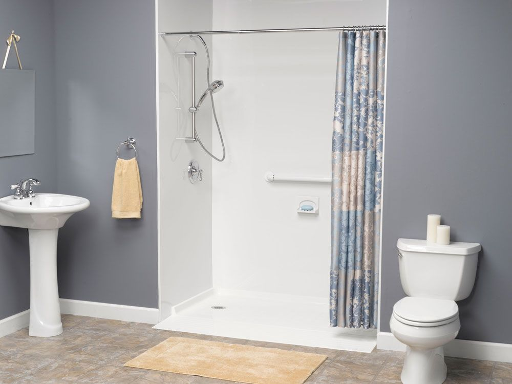 Roll in acrylic shower base & acrylic wall surrounds with a hand ...