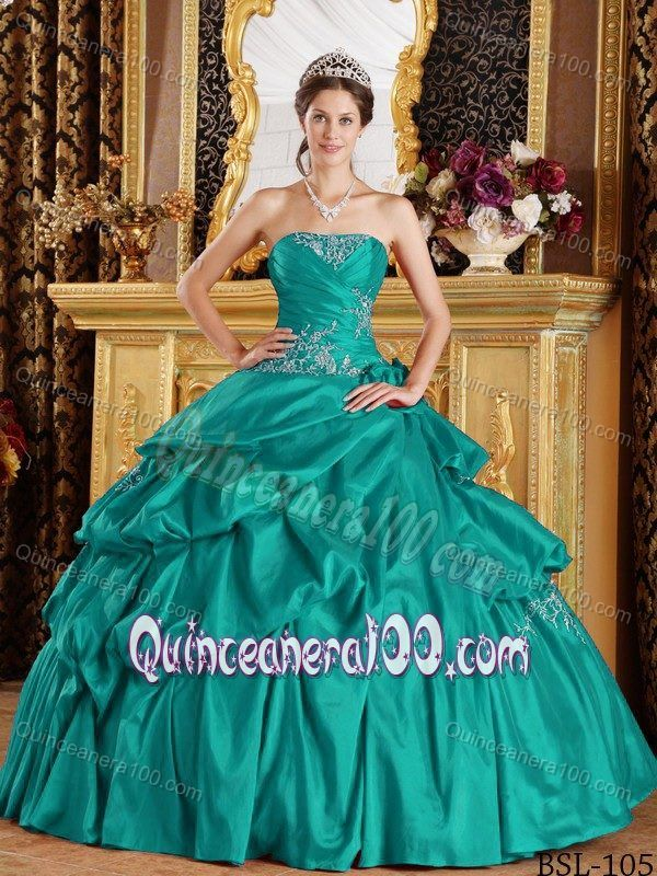 d84d11beeef Turquoise Quinceanera Dress by Taffeta with Appliques and Pick-ups ...