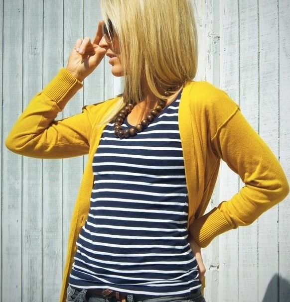 Navy stripes & Mustard