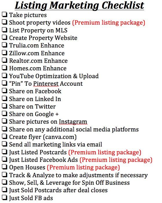 FInal Listing checklist.docx | Real Estate | Pinterest | Finals ...