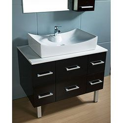 @Overstock - Paris Contemporary Bathroom Vanity has a solid wood cabinet base  Bathroom furniture piece has a large ceramic vessel sink  Vanity features six (6) functional drawers with drain cut-out in the center drawershttp://www.overstock.com/Home-Garden/Paris-Contemporary-Bathroom-Vanity-with-Vessel-Sink/4239752/product.html?CID=214117 $884.00