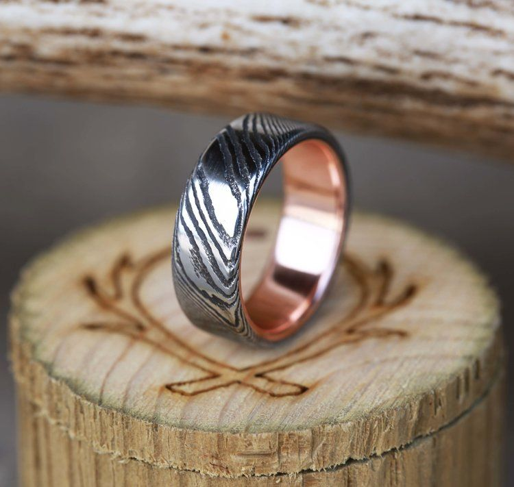 Copy Of Deep Etched Damascus Steel Wedding Band With A Rose Gold Lining Handcrafted By S Damascus Steel Wedding Band Damascus Steel Ring Damascus Wedding Band