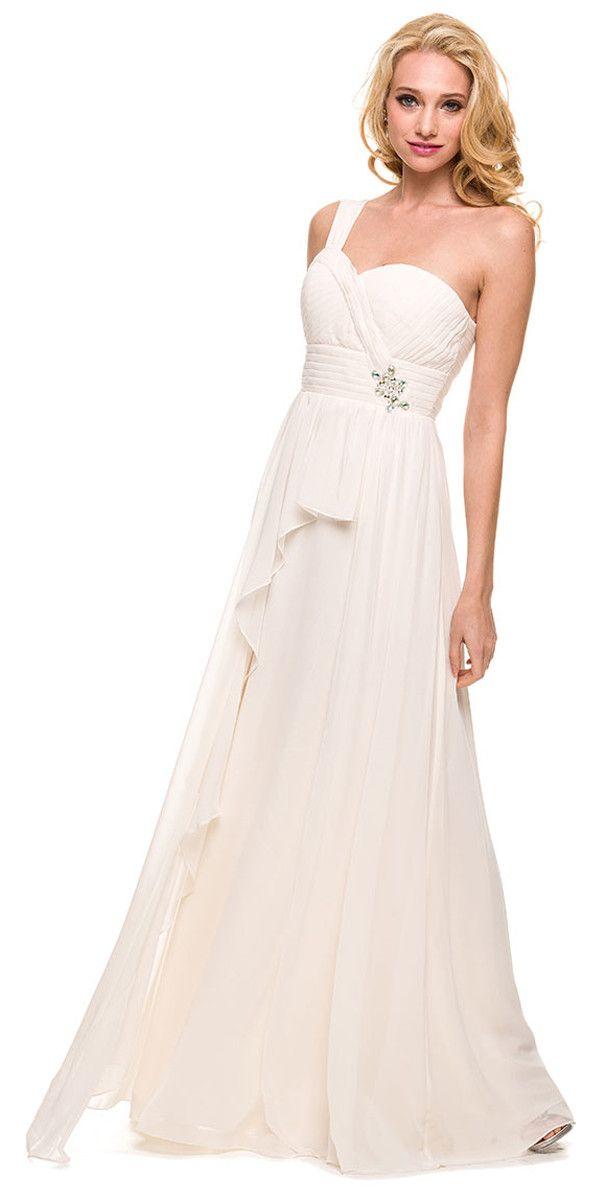 One Shoulder Strap Bridesmaid Chiffon Dress Watermelon A Line