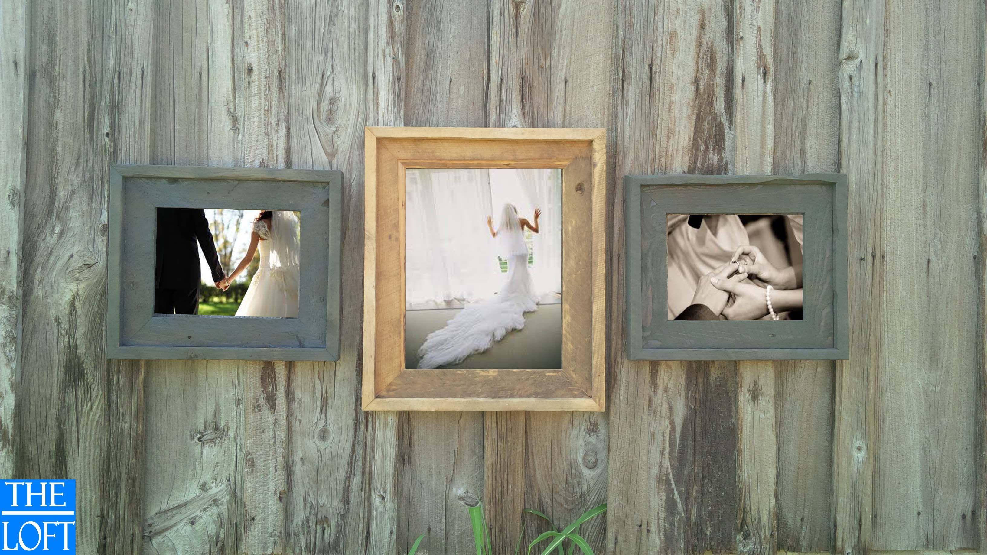 16x20 Natural flanked by two 11x14 Washed Grey Frames | Rustic Barn ...