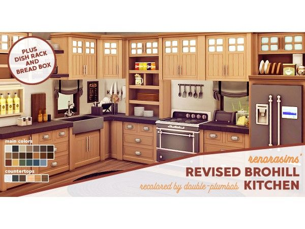 The Sims 4 Renorasims Revised Brohill Kitchen Recolor By Double