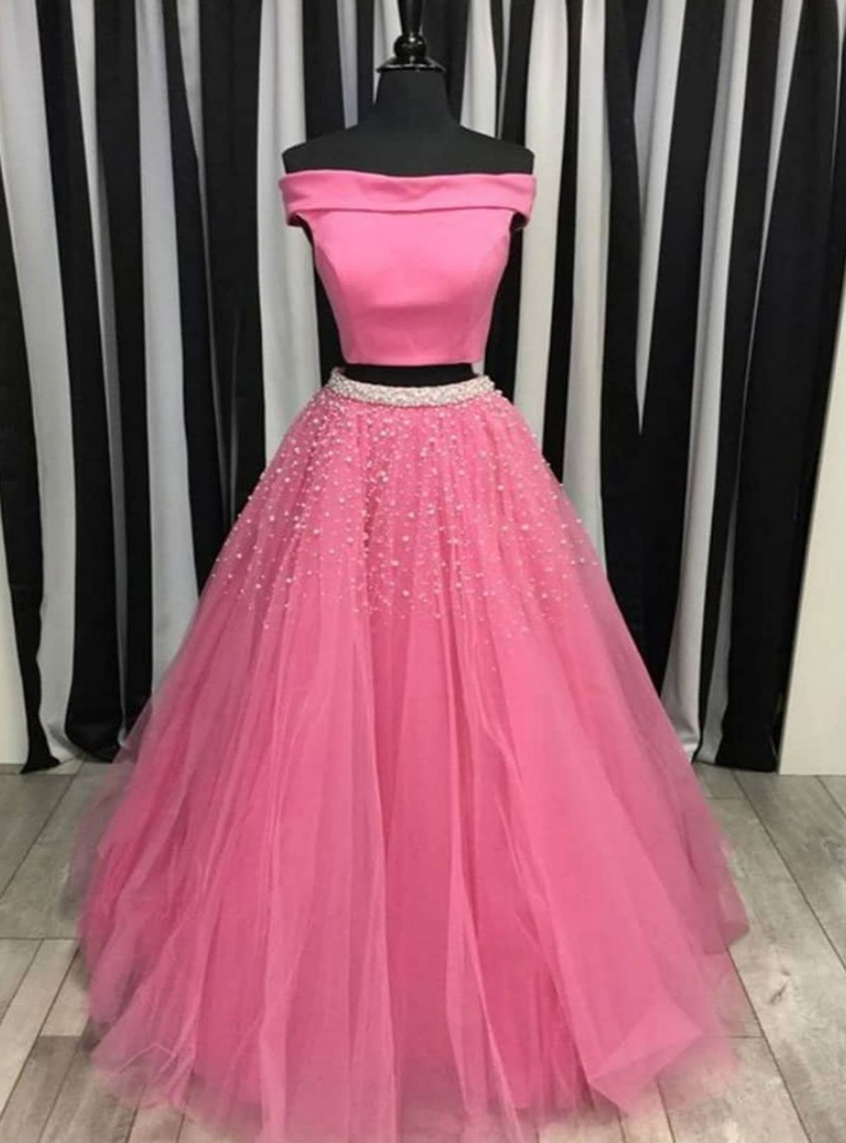 Pink tulle off shoulder long two piece pearl prom dress homecoming