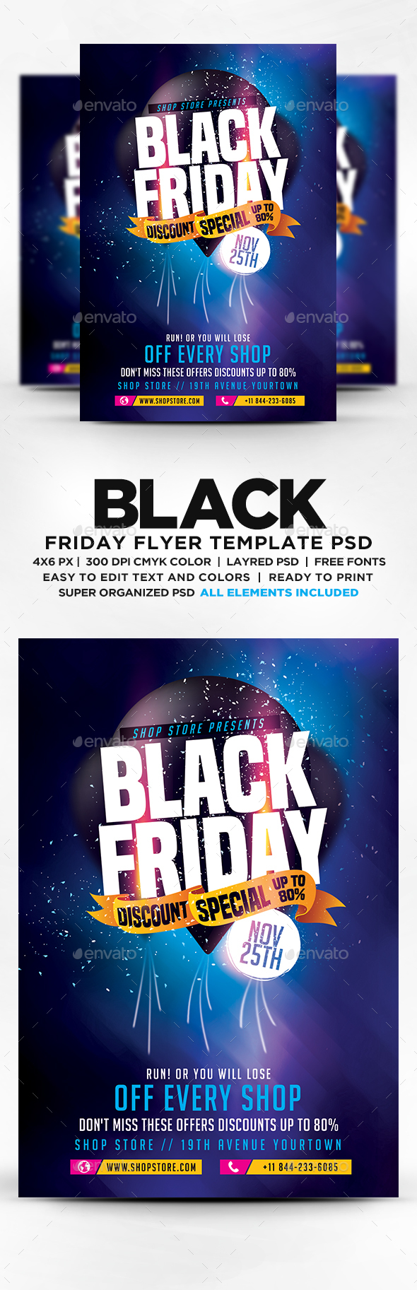 Black Friday Sales Flyer PSD Template Promote Postcard - Sales flyer template photoshop