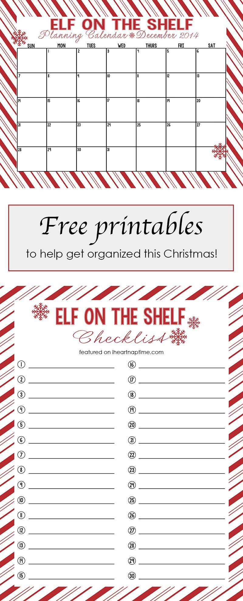 Free Printable Elf On The Shelf Calendar And Checklist  I'Ll Need