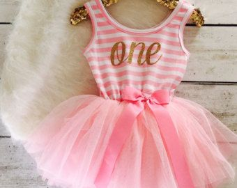Pink and Gold First Birthday Outfit Girls First by susuLEMON ...