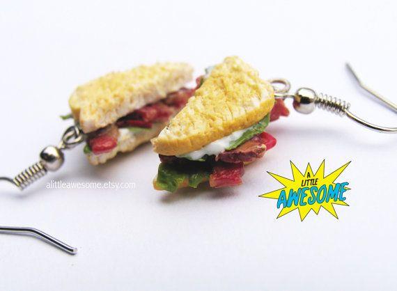 BLT Earrings Food Jewelry Miniature Sandwich by Alittleawesome