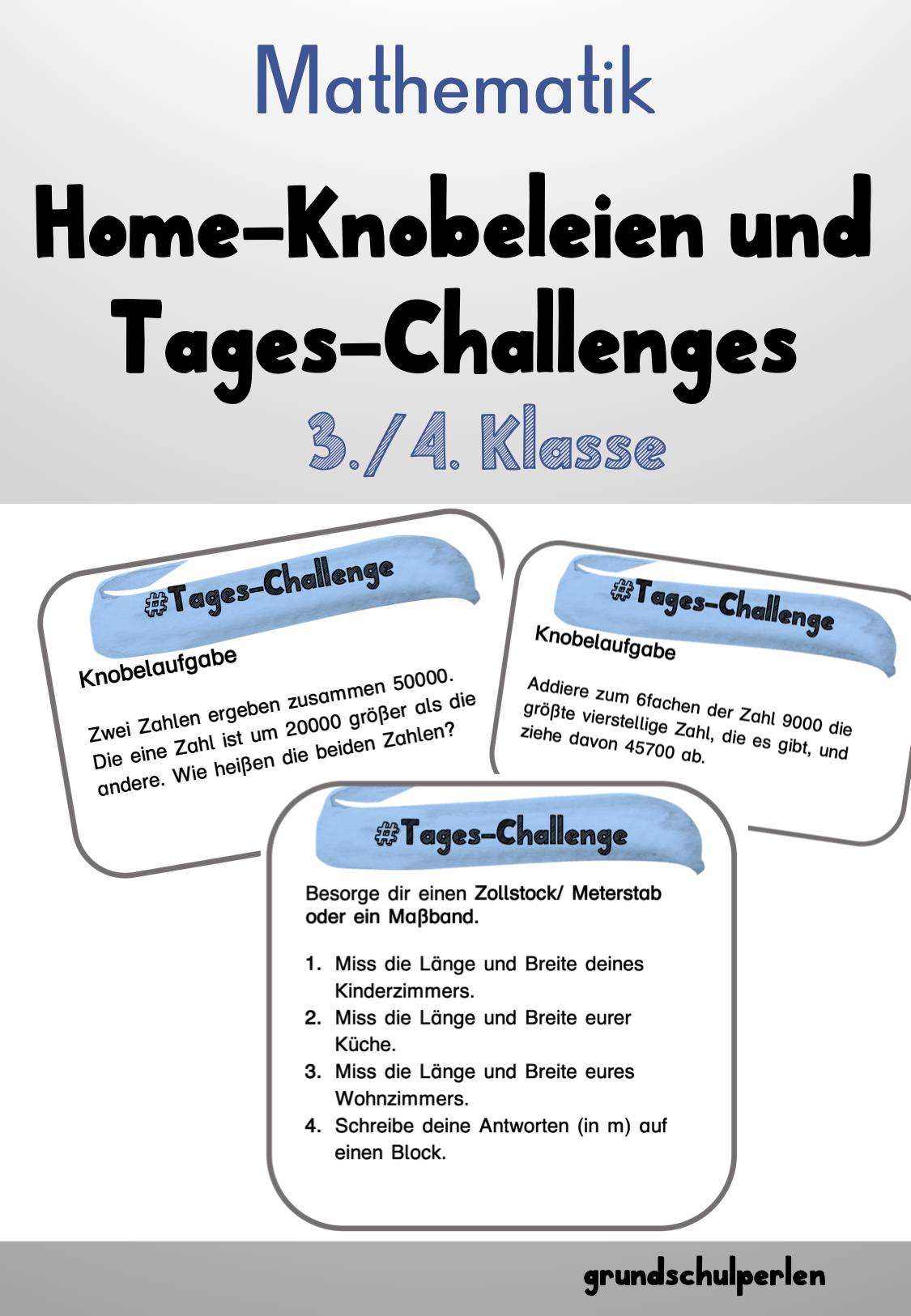 Mathe Knobeleien Fur Zuhause Homeschooling Klasse 3 4 Unterrichtsmaterial Im Fach Mathematik Matheaufgaben Mathe Mathematik