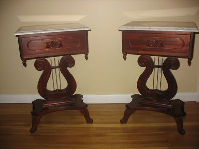 Exceptional Antique Furniture  Cherry Wood Harp Table Marble On Victorian Lyre Harp  Base End Tables