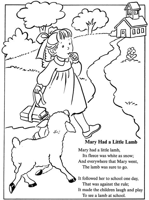 mary had a little lamb nursery rhyme coloring sheet inkspired