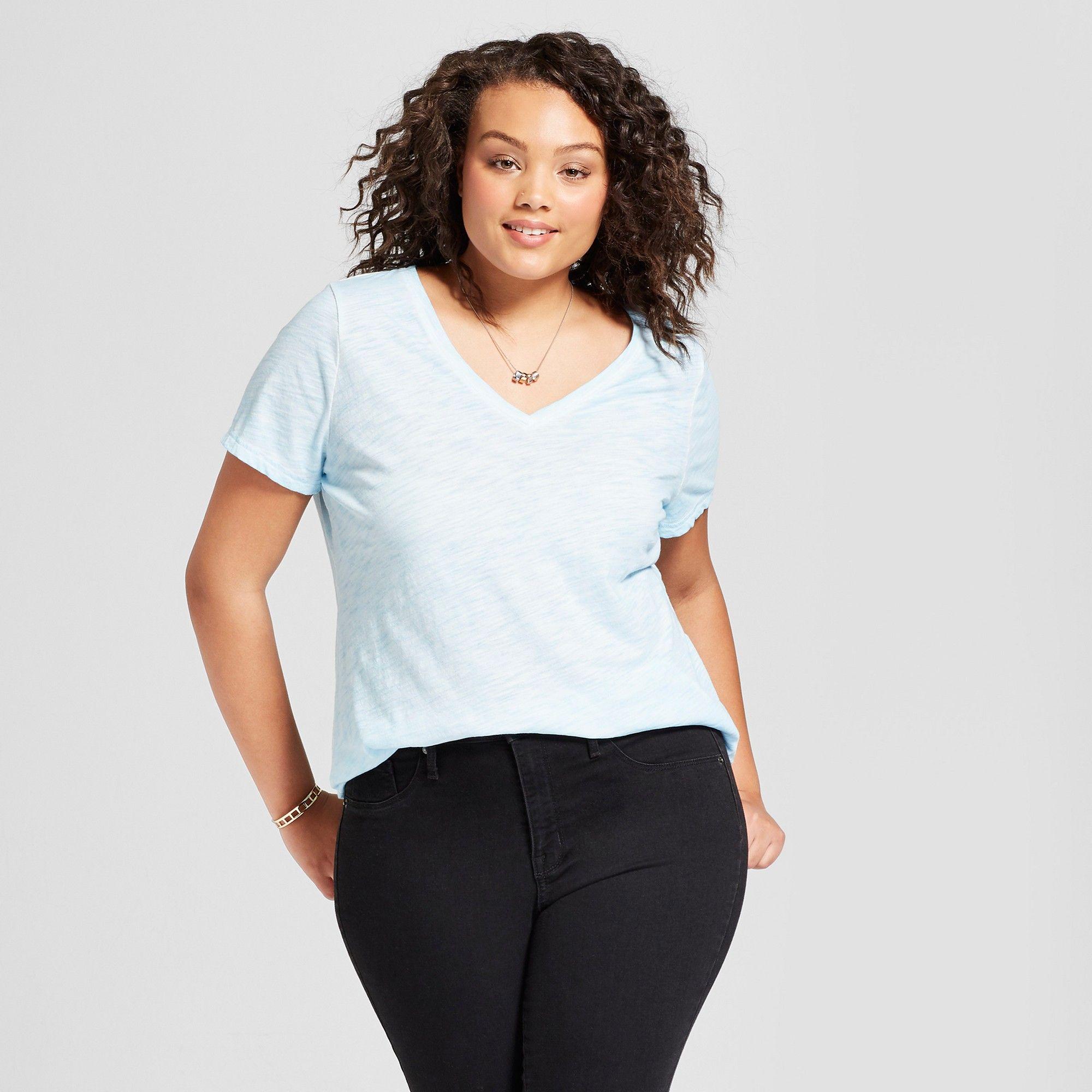 b4c4702baa0 Women s Plus Size V-Neck T-Shirt - Ava   Viv Light Blue 1X ...