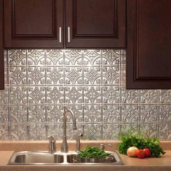 Fasade Backsplash Traditional 1 In Brushed Aluminum Kitchen