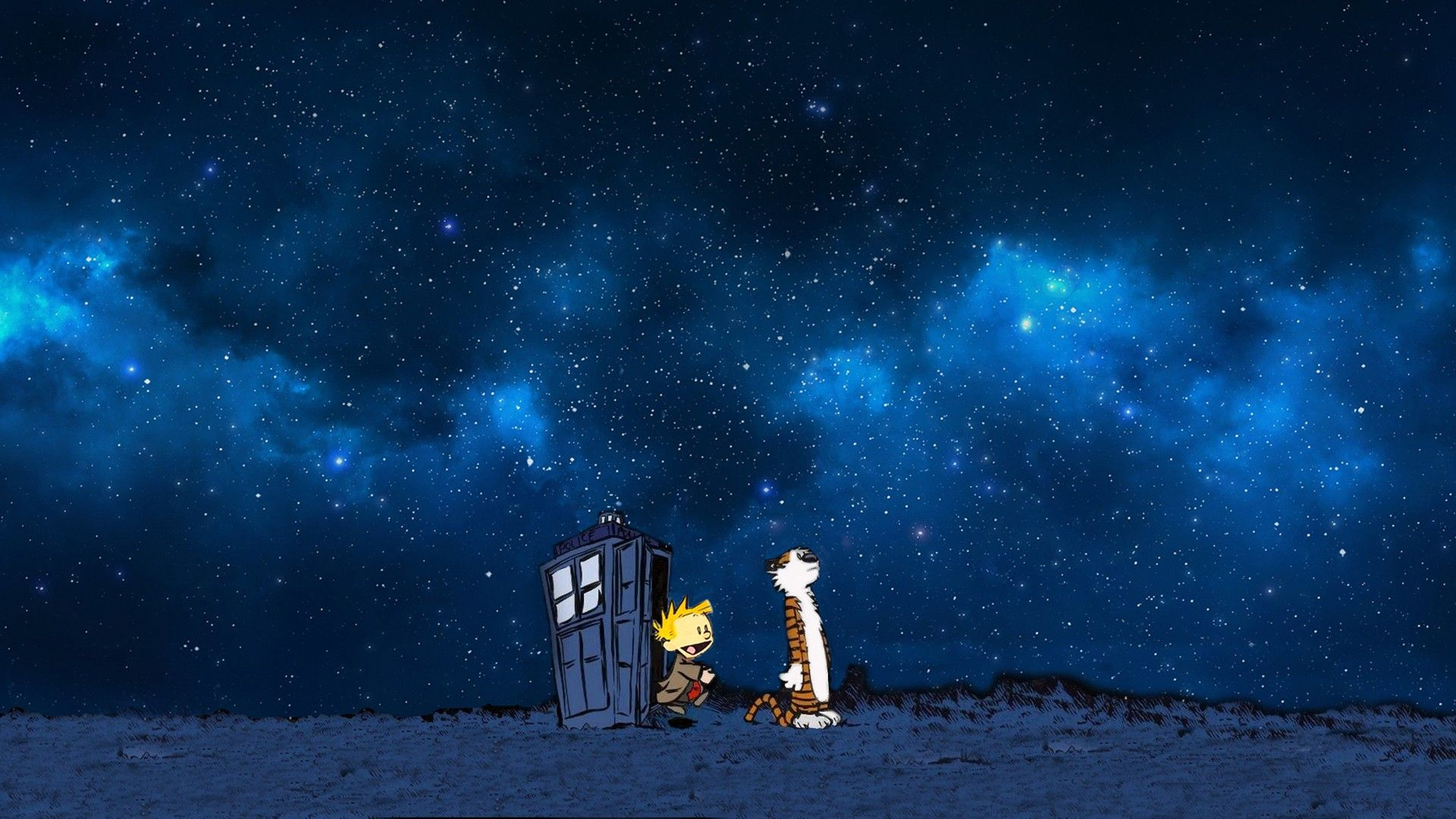 If You Need A Wallpaper Of Calvin And Hobbes Using The Tardis I Ve Got Good News Calvin And Hobbes Calvin And Hobbes Wallpaper Geeky Art