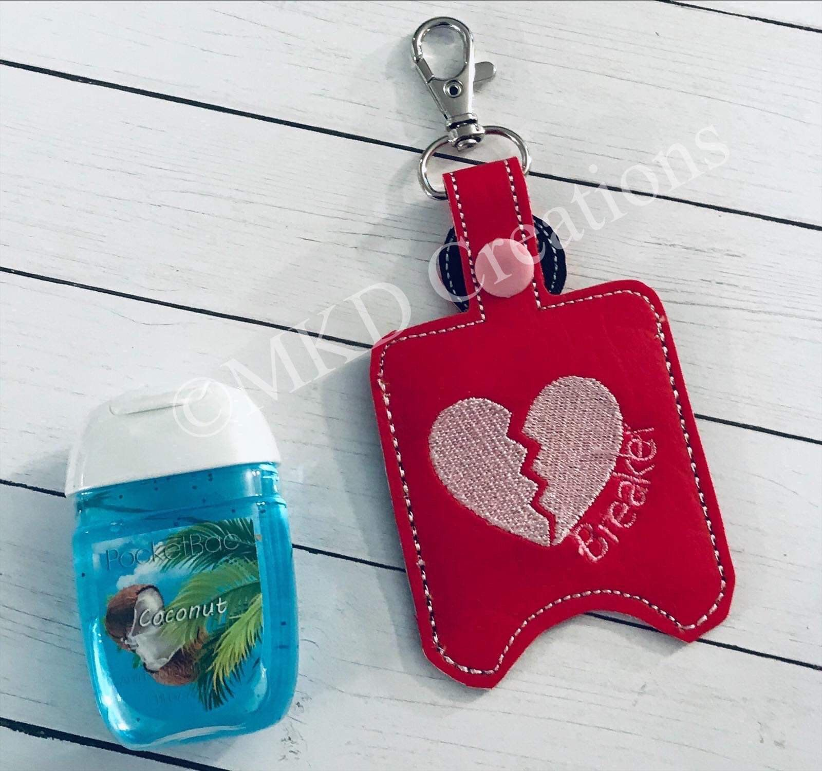 Red With Heartbreaker Key Chain Hand Sanitizer Holder W O 1 Oz