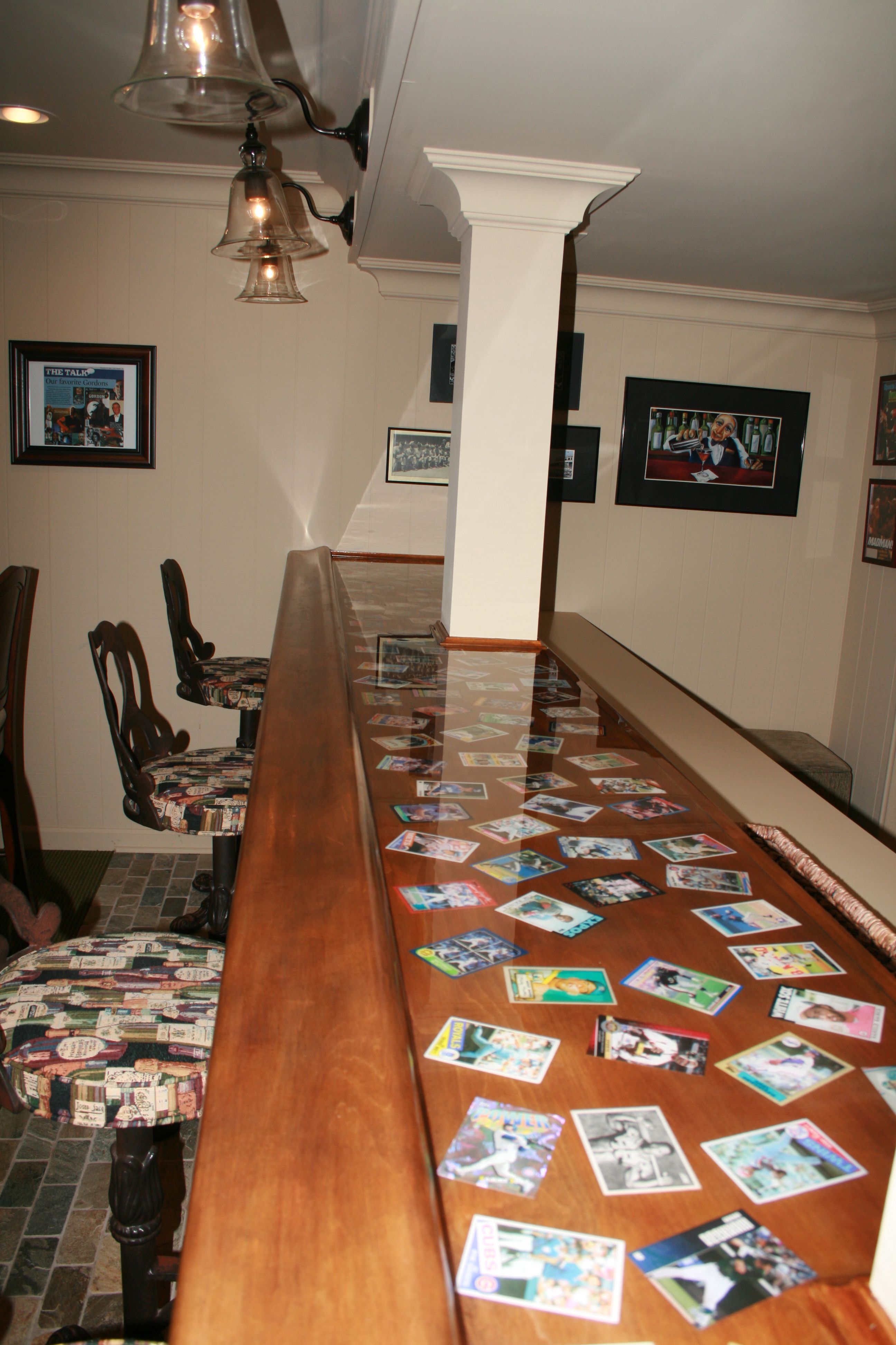 Old Baseball Cards Incorporated Into The Bar Top By Thomas Homes