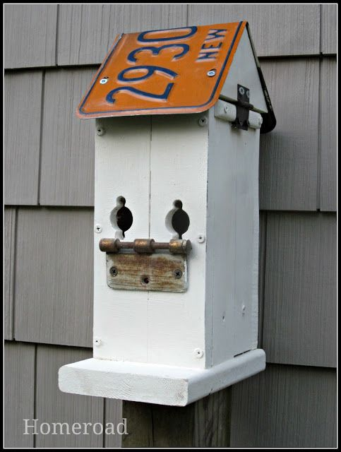 Great idea for years and worth of collected old licence plates also make  diy rustic birdhouse wanna it or buy bird houses rh pinterest