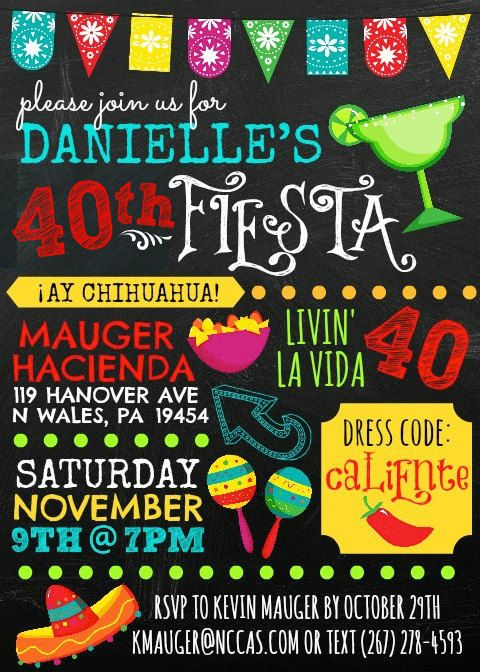 Festive FIESTA Invitation Birthday Engagement by LlewsLetters, $1.50