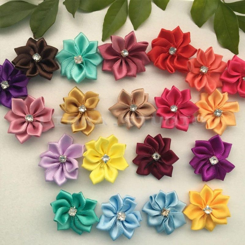 10 Pcs DIY Decorated Satin Ribbon Flowers with Crystal Bead Appliques Craft//Trim