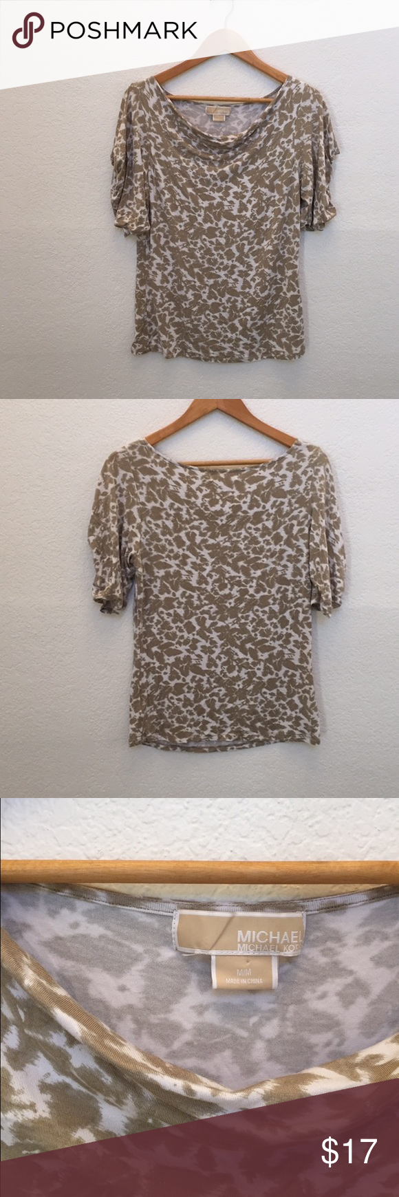 Michael Michael kors cowl neck print top In good used condition. Rayon spandex MICHAEL Michael Kors Tops