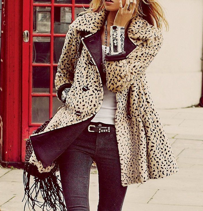 FREE PEOPLE $248 Faux Fur Coat Leopard Printed Bohemian Swingy Jacket 6 Small #FreePeople #BasicCoat #Casual