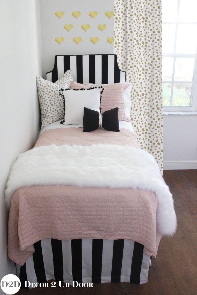 Blush Black Gold Fur Designer Apartment Bedding Set