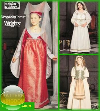 simplicity 9836 girls medieval dress patterns noble
