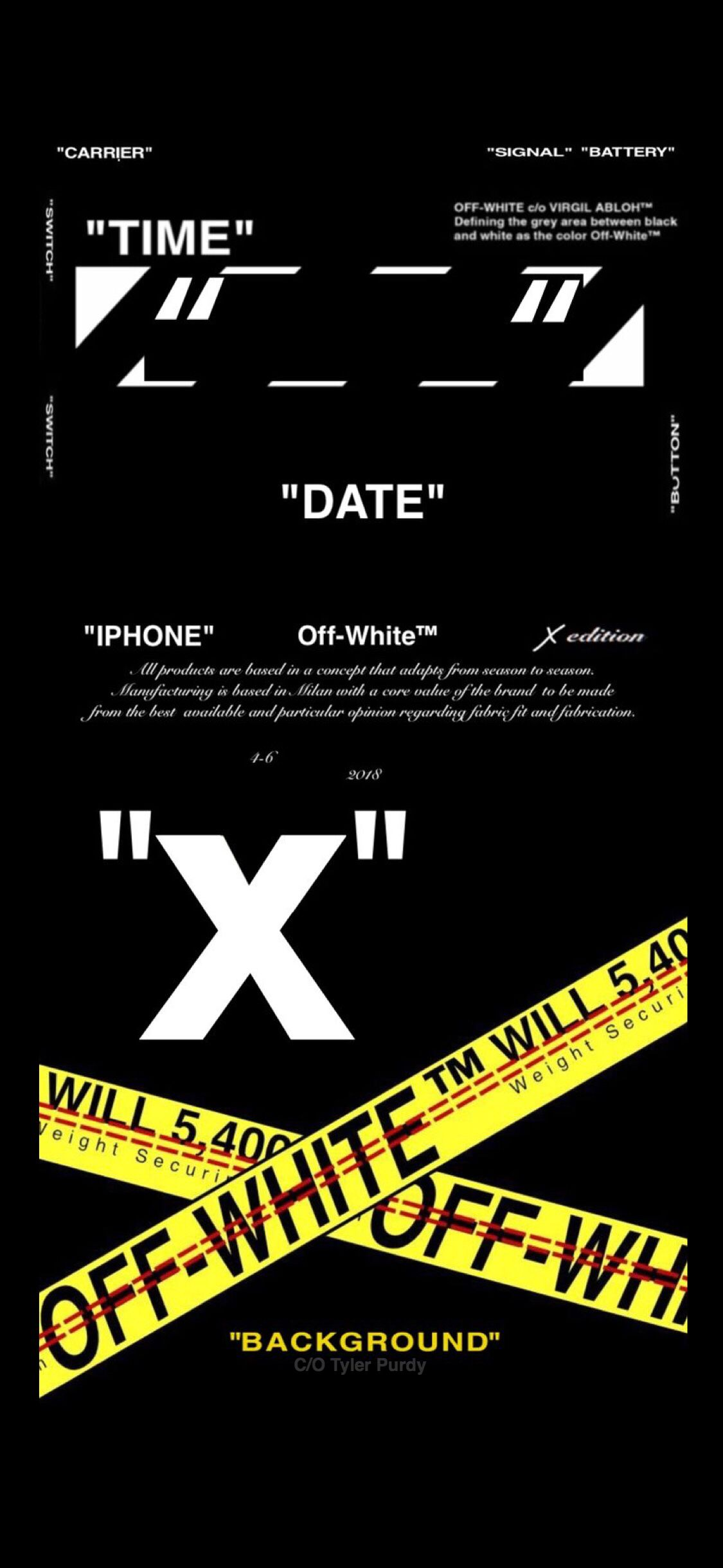 iPhone X version offwhite wallpaper, created by T¥L£R