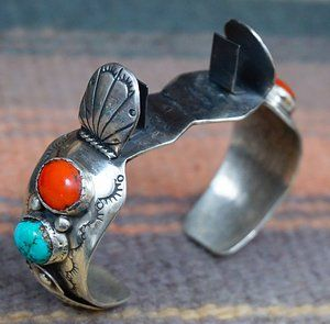 Photo of Item #850R- Vintage 70's Women's Navajo Turquoise Coral Silver Feather Watch Cuff —*Native American Women's Watch Cuffs- EAGLE ROCK TRADING POST-Native American Jewelry