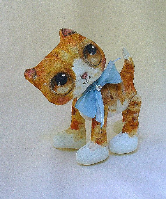 Ginger kitten cloth doll #gingerkitten Ginger kitten-Suzie Hayward #gingerkitten
