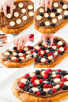 Cinnamon sugar breakfast pizza with Nutella will start your day off right. Roll out pizza dough and sprinkle with butter and cinnamon sugar. Bake at 425 degrees for 20 minutes. Spread with Nutella and top with your favorite fruit. Slice and serve for your whole family.