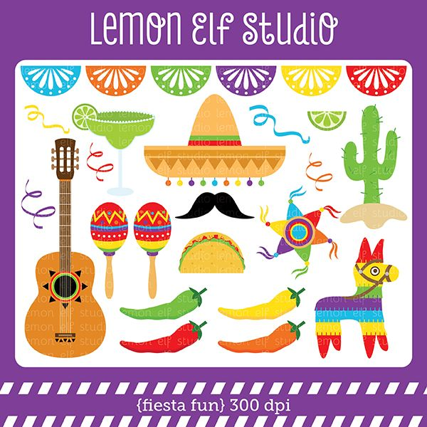 Fiesta fun clipart set comes with sombrero guitar maracas cactus taco