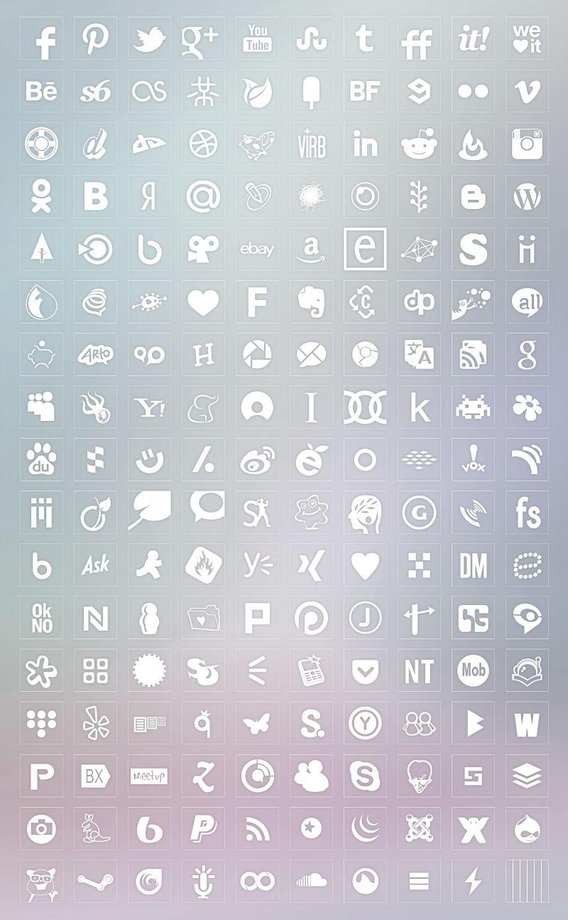 Transparent Background White Color Icons Set Edições