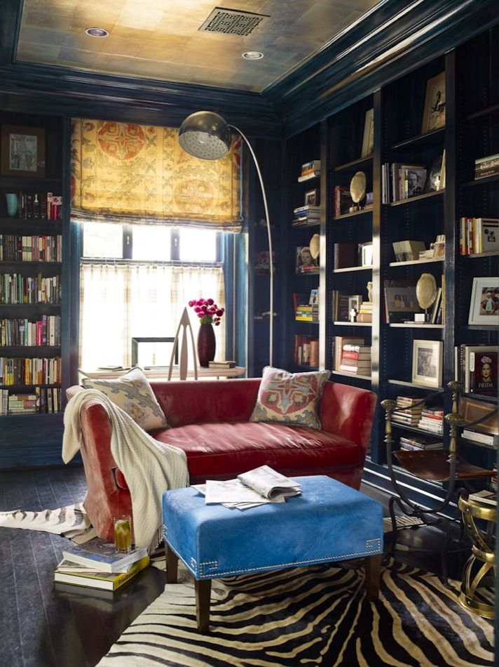 1960s DC Townhouse Designed By Hillary Thomas  Eclectic Library With Zebra  Rug, Red Leather Love Seat And Modern Orb Lamp