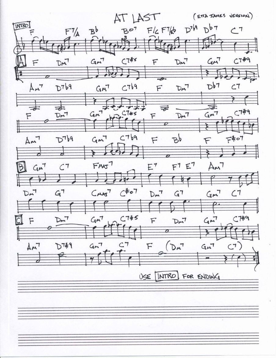 At-Last - Etta James - Melody Lead Sheet in F pdf | music in 2019