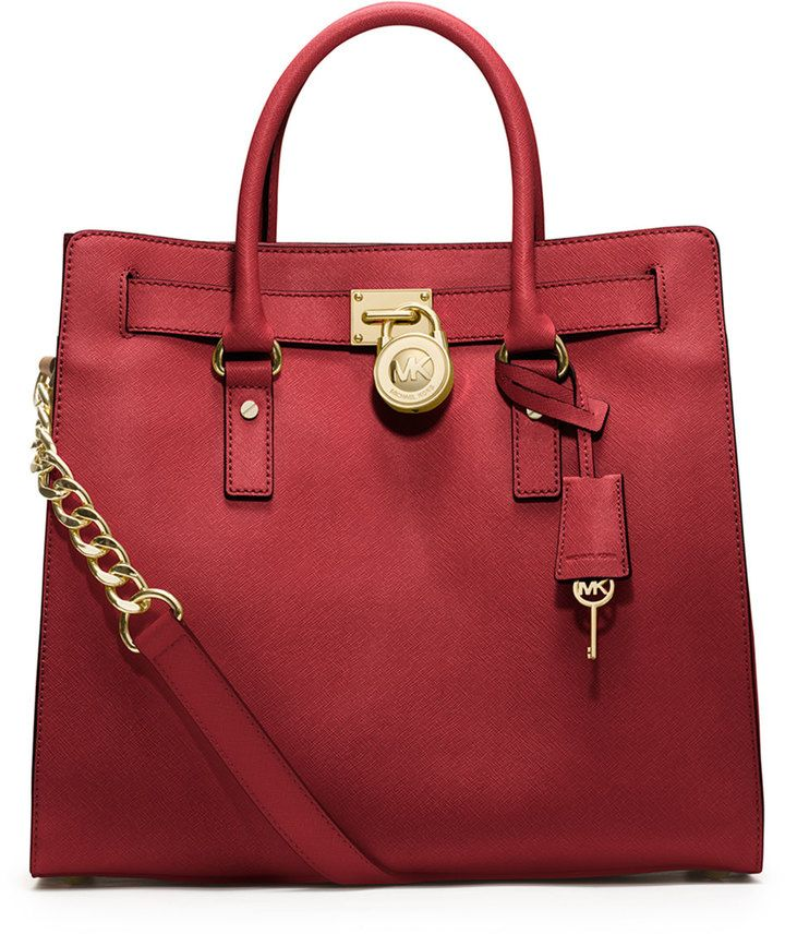 44762627a6a4 MICHAEL Michael Kors Hamilton Large Saffiano Tote Bag, Red on shopstyle.com