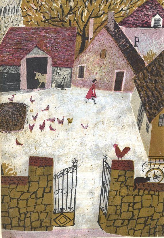 Farmyard And Chickens 1960s Vintage Illustration By Roger Duvoisin Nursery Decor Farmyard Hens