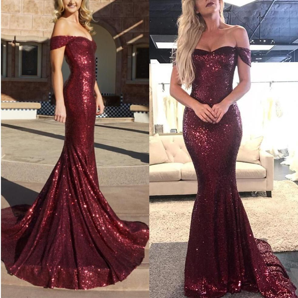 Sparkly sequin off the shoulder mermaid evening dresses prom