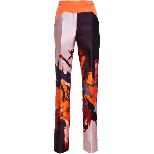 Antonio Berardi Light Orange Pant With Baschina ($1,635) ❤ liked on Polyvore featuring pants, white trousers, floral printed pants, orange trousers, white pants and white floral pants