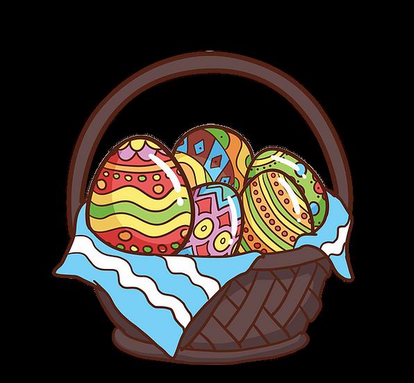 A Basket Filled With Easter Eggs Png Transparent Image Instant Download Upcrafts Design In 2021 Easter Eggs Printable Wall Art Easter Baskets